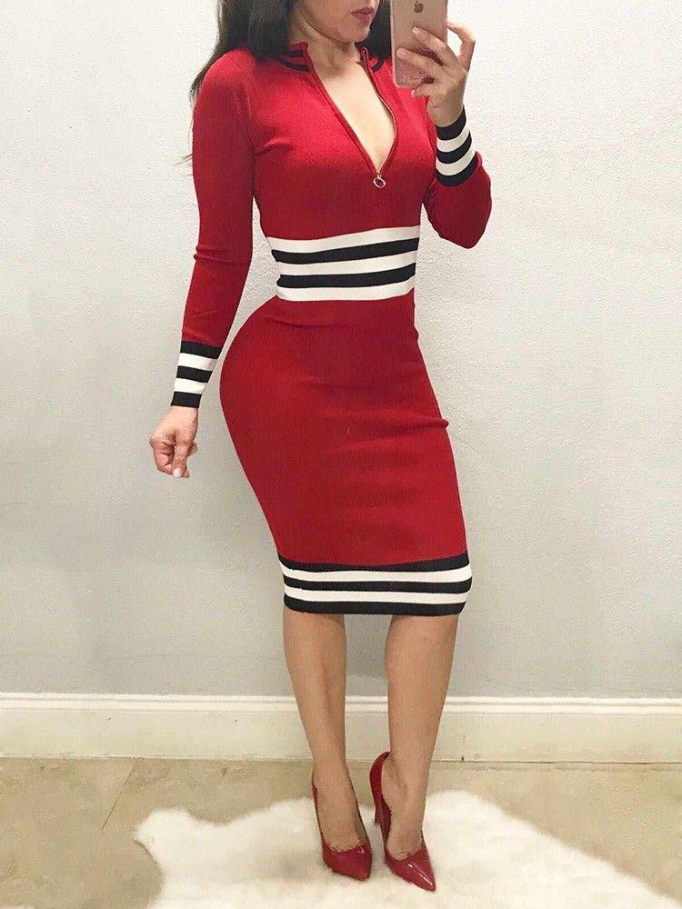 bd74794565 Striped Front Zipper Bodycon Dress | Chic Me Dress in 2019 | Bodycon ...