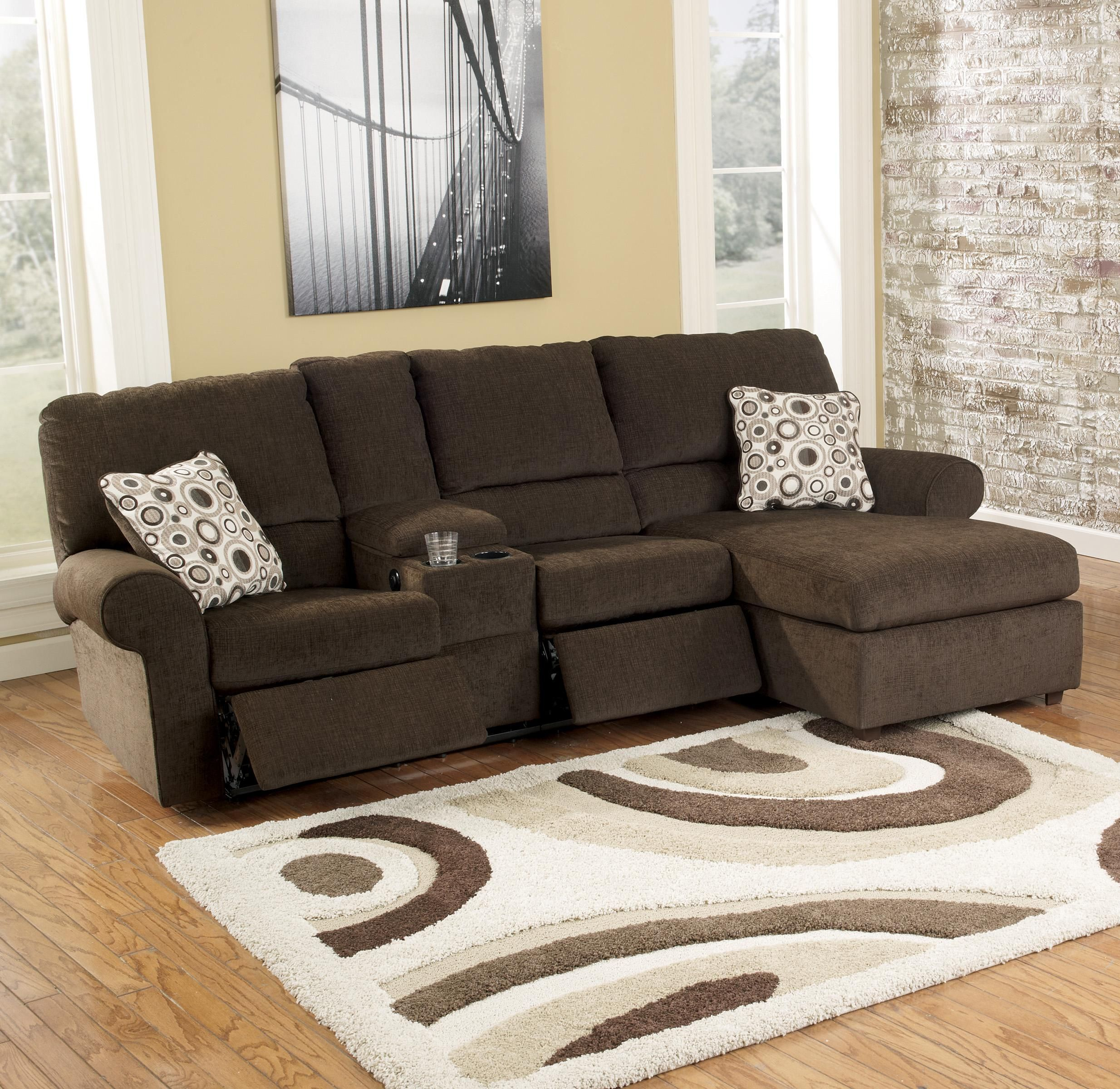 Signature Design by Ashley Cybertrack - Chocolate Reclining Sectional with Power Double Reclining Loveseat w/ Console u0026 Press Back Chaise - Michaelu0027s ... & Cybertrack - Chocolate Power Reclining Sectional by Signature ... islam-shia.org