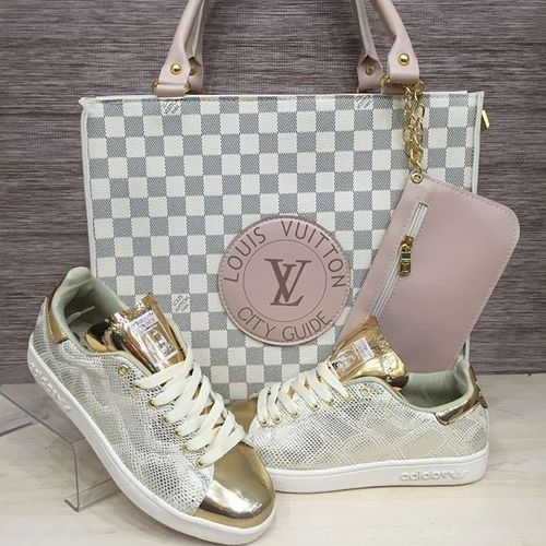 louis vuitton handbag and sneaker