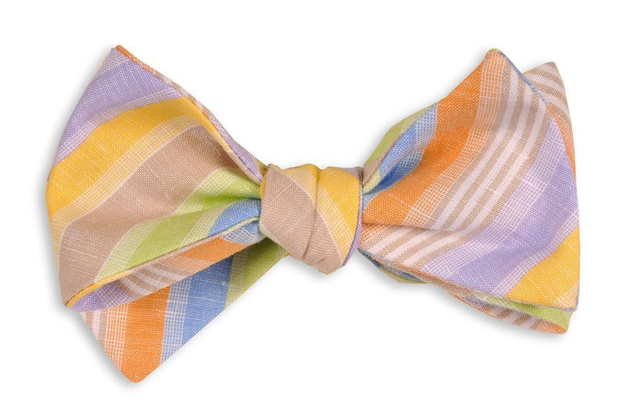 Multicolor Linen Stripe Bow Tie by High Cotton