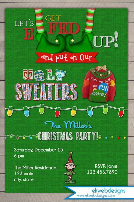 Lets Get Elfed Up Ugly Sweater Christmas Party Invitation