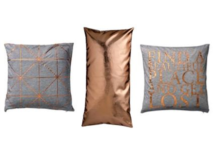 deko und accessoires im kupfer look pillows interiors and copper accents. Black Bedroom Furniture Sets. Home Design Ideas