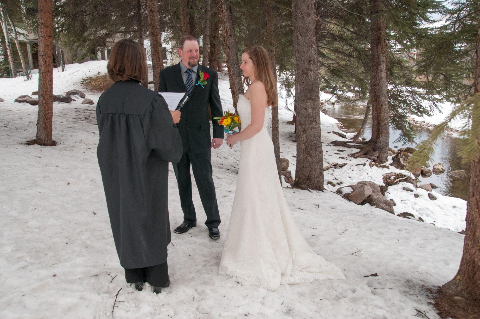 Intimate Winter Wedding Beside The Creek In Vail Colorado