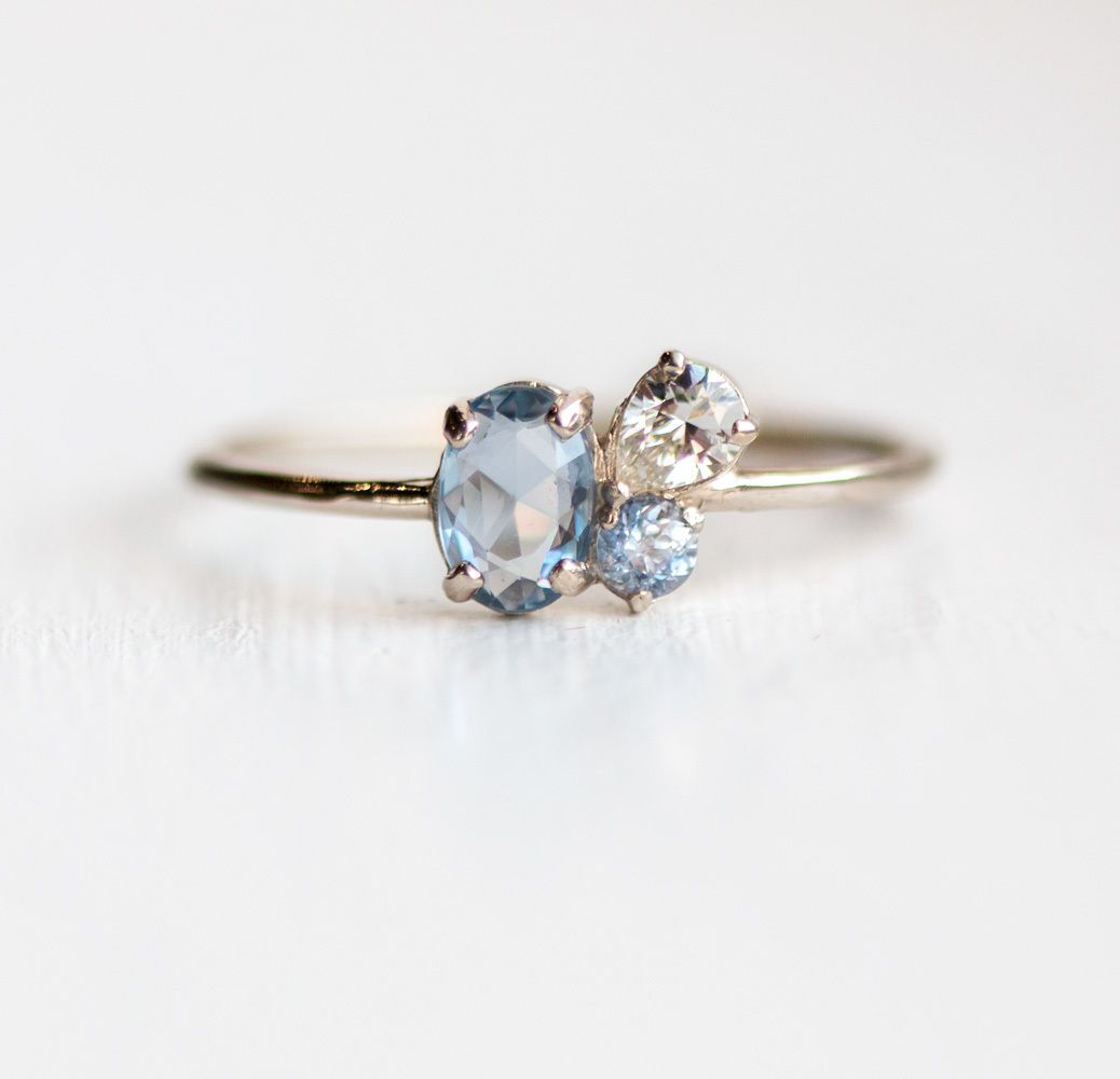 Pirouette Ring in Sky, Oval rose cut blue sapphire, white sapphire and lilac sapphire clustered in solid 14k gold