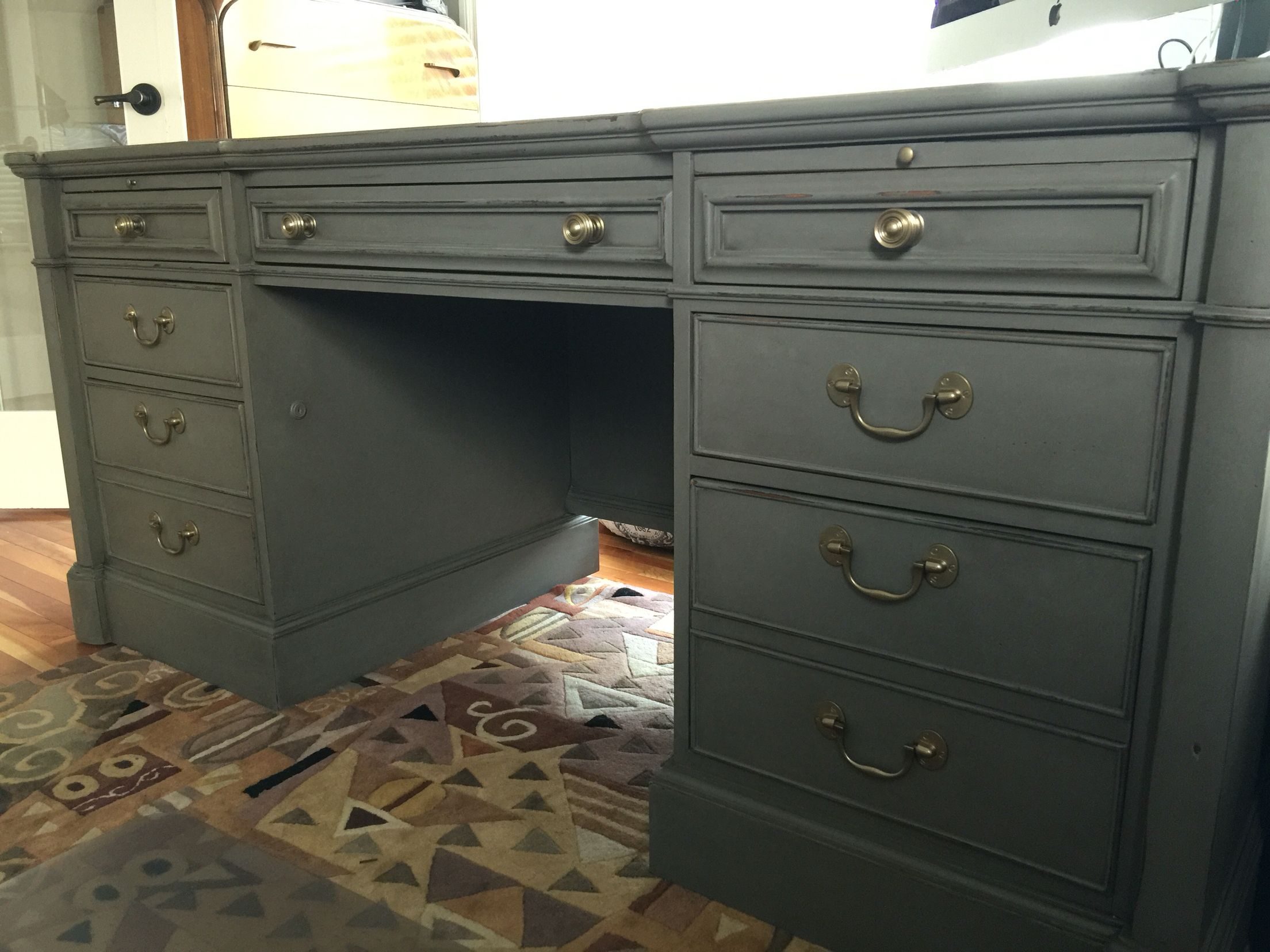 Painted Desks executive desk refinished in country chic cobblestone and dark wax