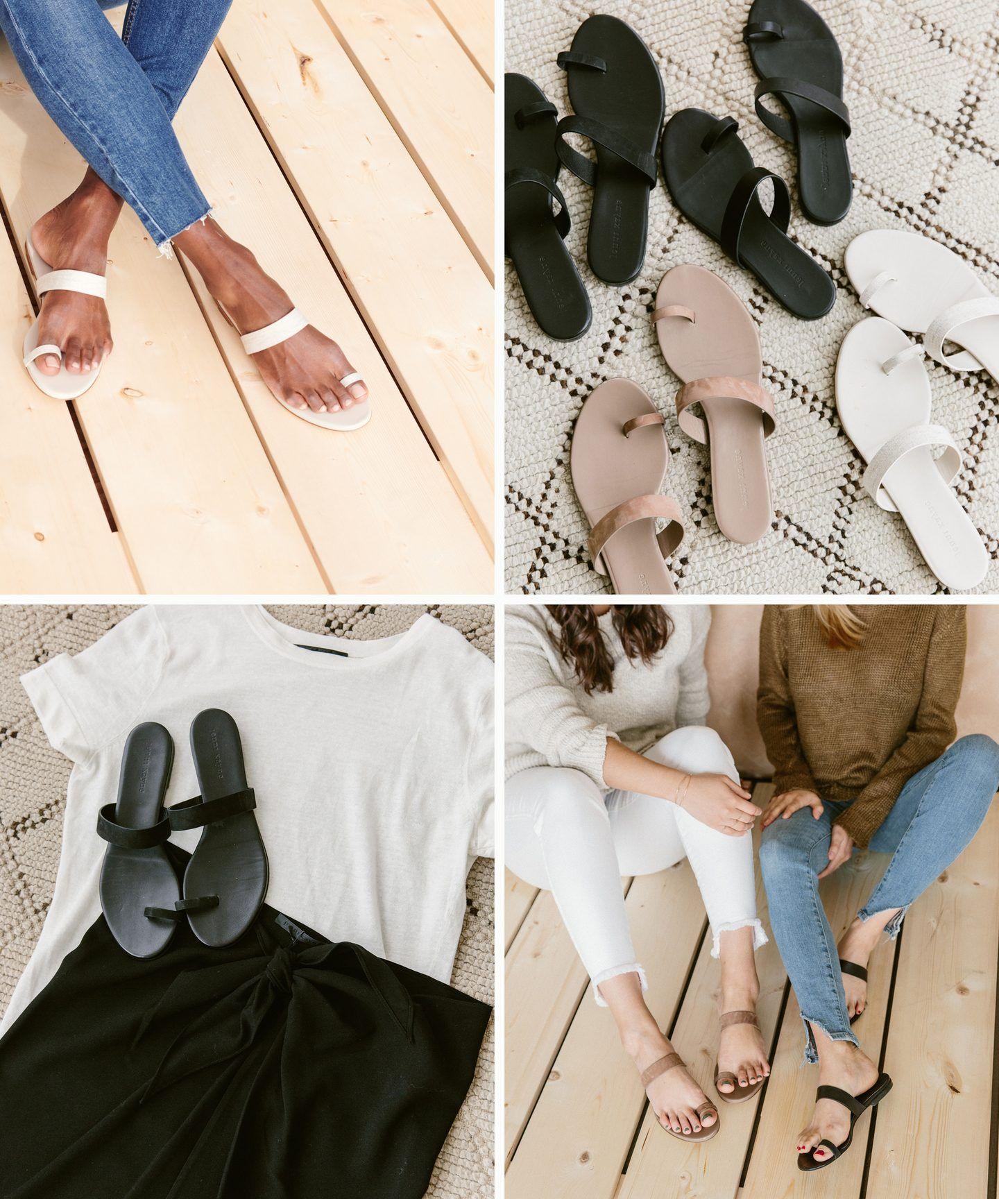 Black sandals, Leather strap sandals