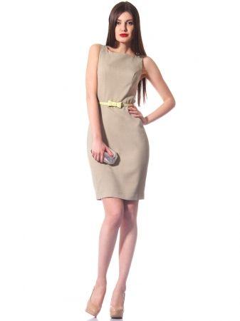 2daa86bc141471b Прямое летнее платье чуть выше колена, дополнено изысканным поясом. Платье  без рукавов и подкладки идеально подходит для жарких летних дней. На спине  платье ...
