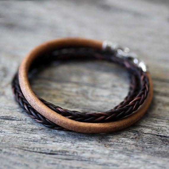 Blonde Leather Unisex Bangle Bracelet in Sterling Silver by byjodi