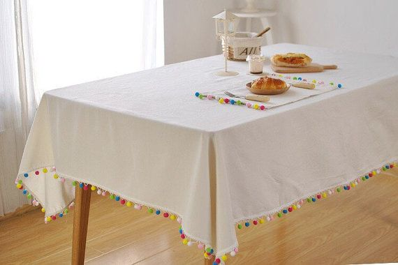 White Linen Tablecloth With Rainbow Tassel Colour Tassel Etsy Table Cloth Decorations Table Cloth Natural Linen Tablecloth