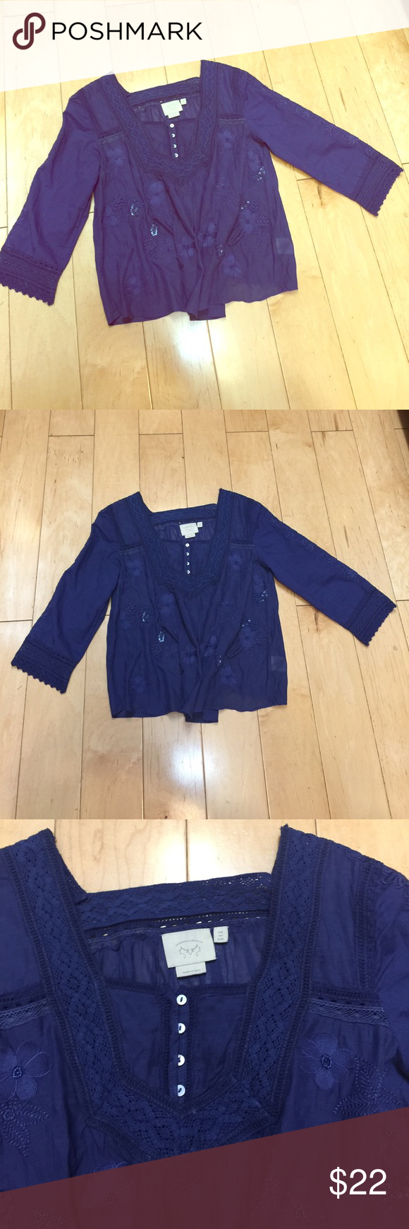 Anthropologie blouse top navy blue wide embroid Anthropologie top blouse . Beautiful details with beads and embroidery. EUC like worn once. Wide ( flares considerably from Brest like down). Size 4. Very beautiful! Anthropologie Tops Blouses