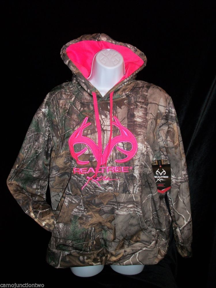 Womens Ladies Realtree Xtra Camo Hot Pink Pullover Hoodie