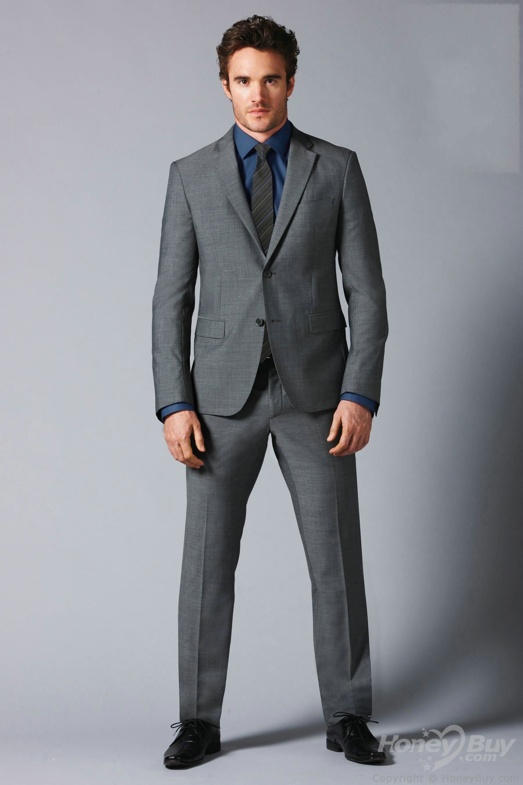 Double Buttons Notch Lapel Grey Suits for Wedding Groom ...