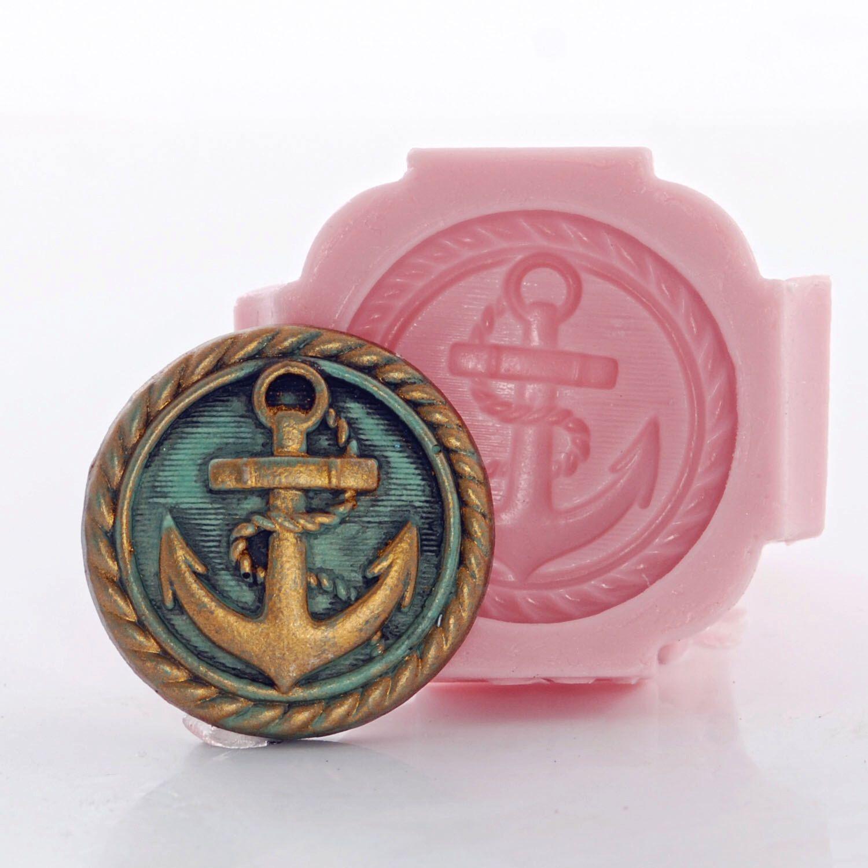 Large silicone nautical button anchor button mold resin