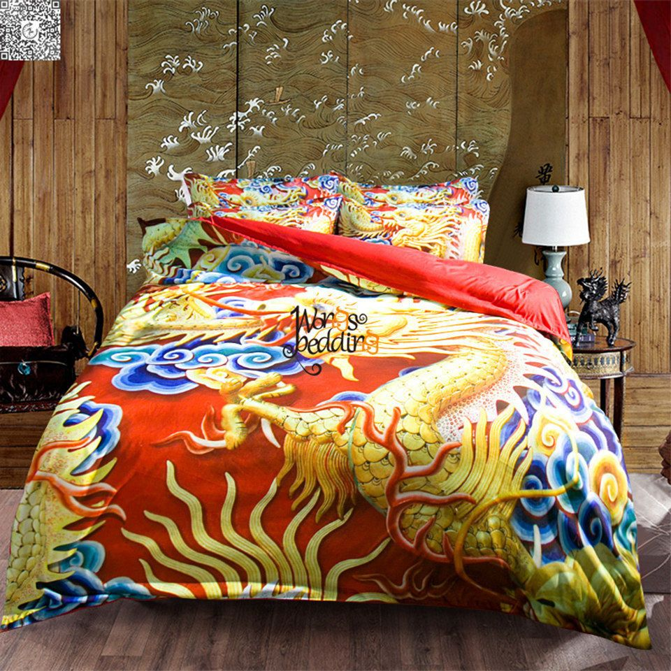 The First Wash Can Usually Fade The Color Of The Set In An Acceptable Manner Quilt Cover Set Single 1 X Dragon Duvet Red Duvet Cover King Size Duvet Covers