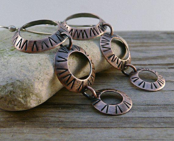Dangle Earrings Drop Earrings Copper Earrings Textured Circle Copper Discs Beaded Jewelry Diy Jewelry Inspiration Copper Earrings