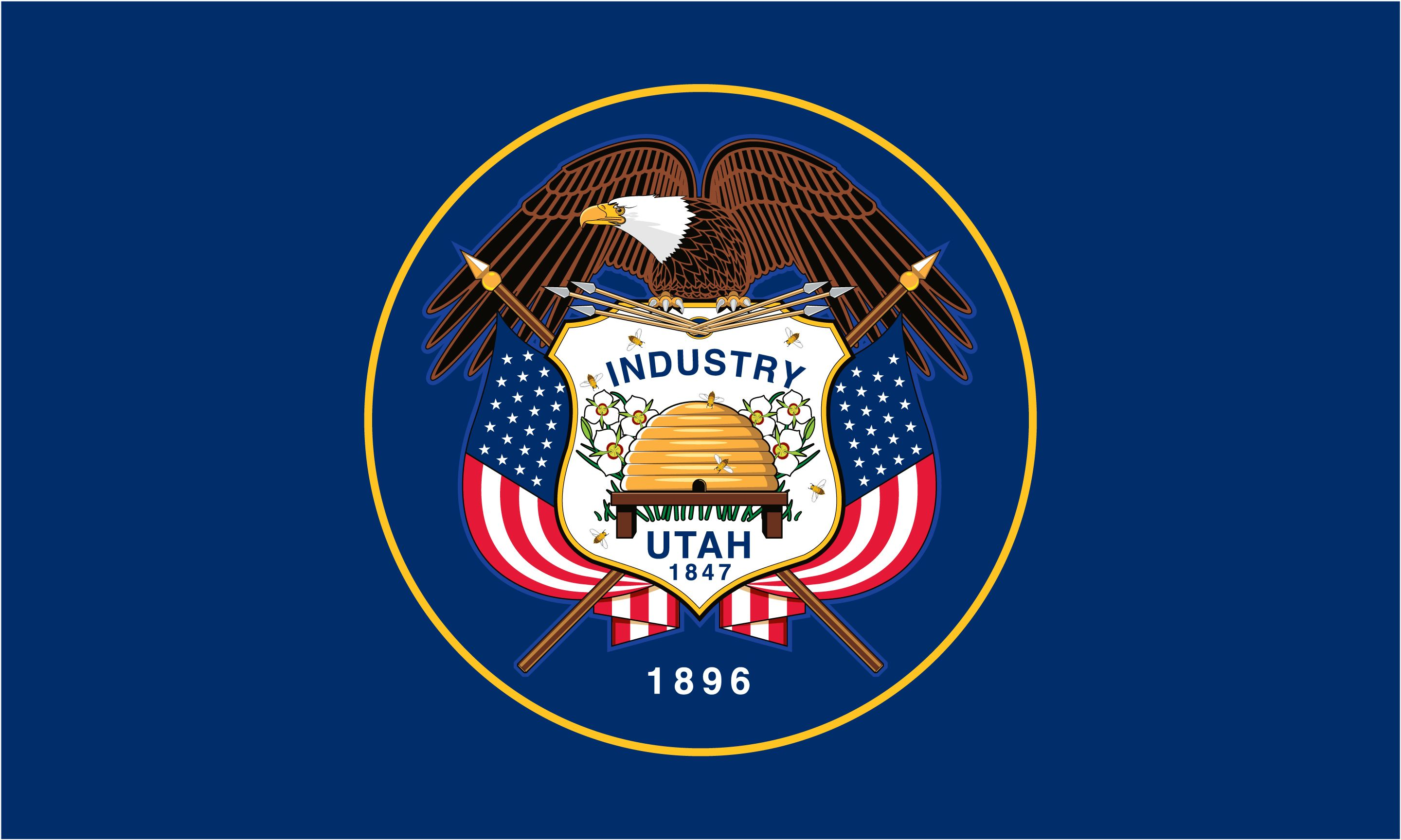 The Utah State Flag Has A Blue Background With The State Seal