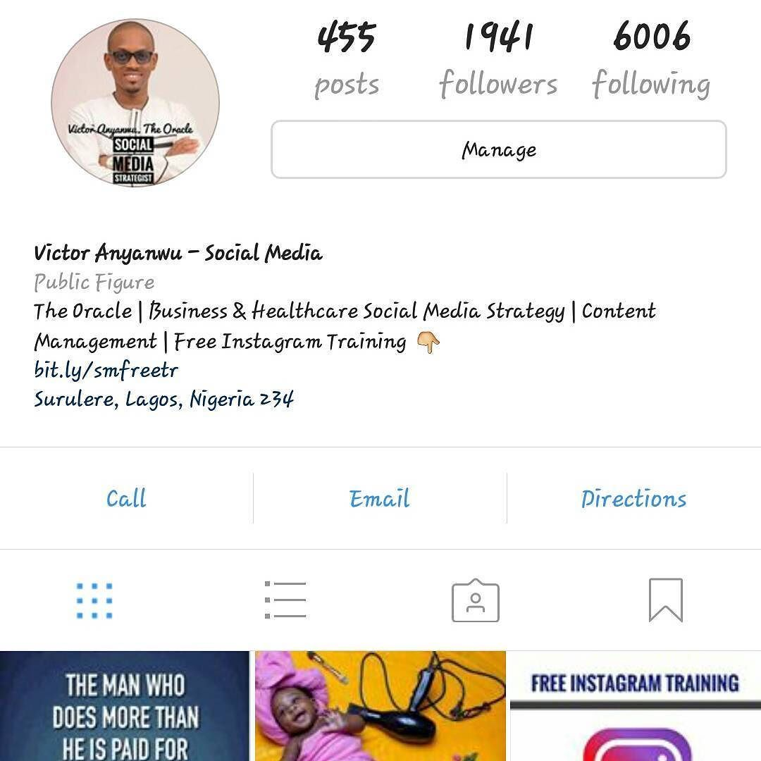Free Instagram Training Day 1 Tip 2. The Profile. Always