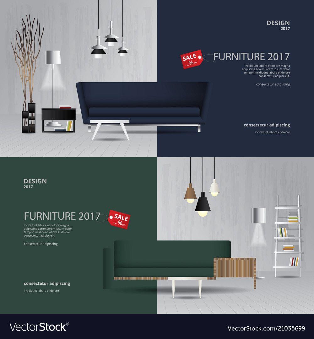 2 banner furniture sale design template vector image on VectorStock