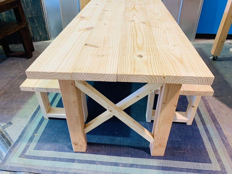 Rustic Farmhouse Table Set with Benches, Unfinished DIY