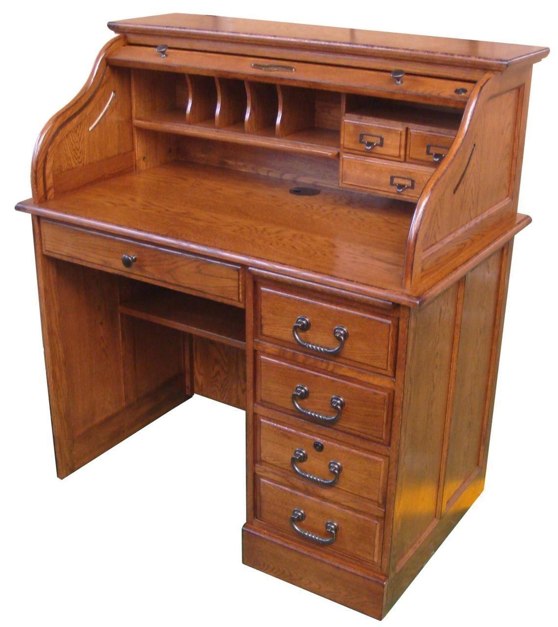 Solid Oak Wood Small Student Roll Top Desk Single Pedestal