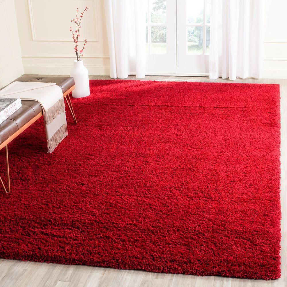 Himalaya Red Rectangle 8 Ft In X 10 Ft In Area Rug In Rectangular Redrugs Red Wool Rug Solid Area Rugs Rugs