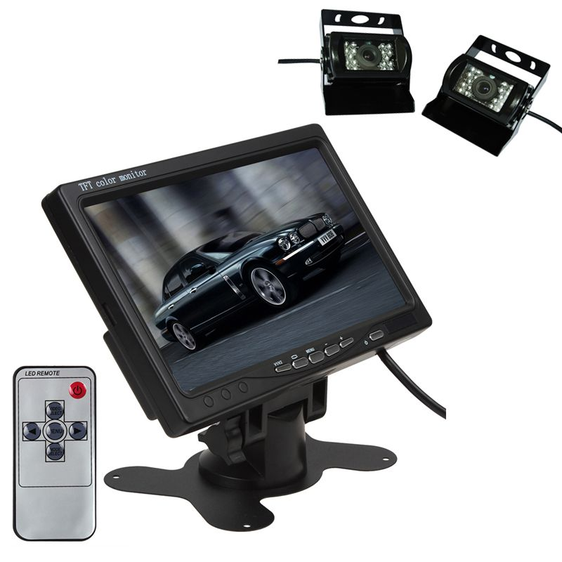 Car Monitor Reverse Camera Headrest Monitor Car Styling Roof Mount 7 Inch Rear View Night Vision Backup Rv Truck Van Bus O Remote Control Cars Monitor Rv Truck