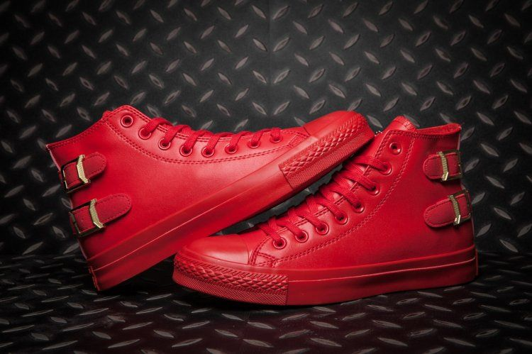 670a52634fee Monochrome Red Converse All Star Buckles Back Leather High Tops  converse   shoes