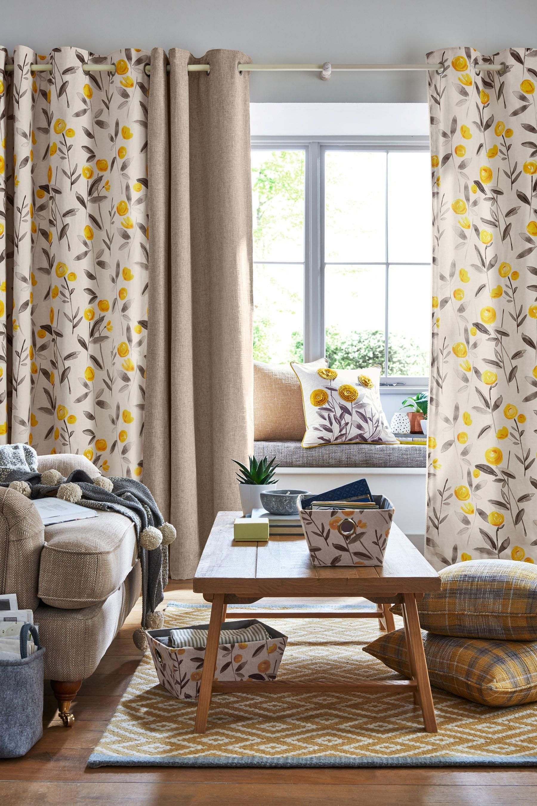 Buy Ochre Eden Floral Print Eyelet Curtains from the Next ...