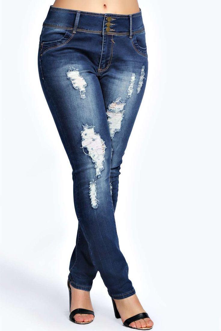 Plus Size High Waisted Stretch Skinny Jeans - Distressed Indigo ...