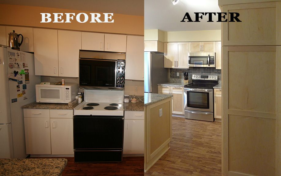 Merveilleux Kitchen Refacing Project Showing A Before And After Of The Kitchen. New  Shaker Style Door. Great Way To Modernize Your Kitchen For Half The Cost.