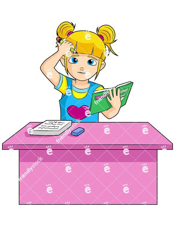 Little Girl Doing Homework Cartoon Vector Clipart Friendlystock Free Vector Illustration Clip Art Kids Vector