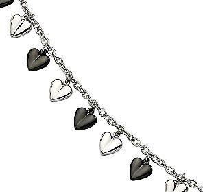 Steel By Design 7 14 Black Plated Polishedhearts Bracelet Qvc