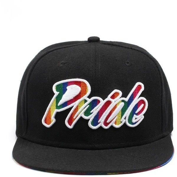 Gay Pride Black Rainbow Snapback Baseball Cap (Pride Written) ( 17) ❤ liked  on Polyvore featuring accessories ac2226e4f4a9