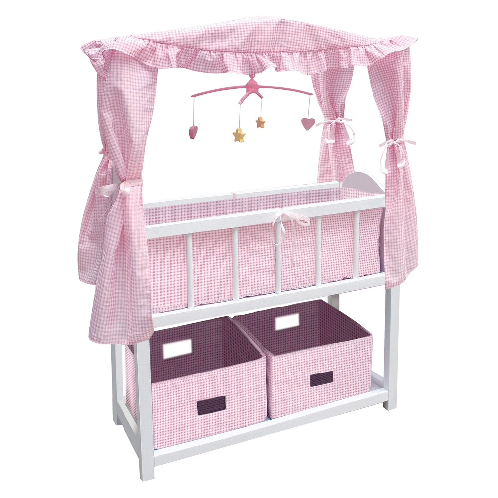 Badger Basket Doll Canopy Crib With Mobile U0026 Storage Bins