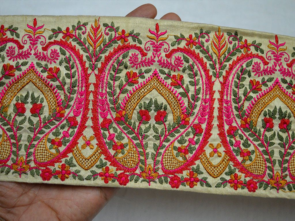 Wholesale Beige Embroidered Saree Border Fabric Trim By 9 Yard Wholesale Trimmings Indian Laces And Trims Ribbon Indian Trim Embroidery Saree Saree Border Fabric