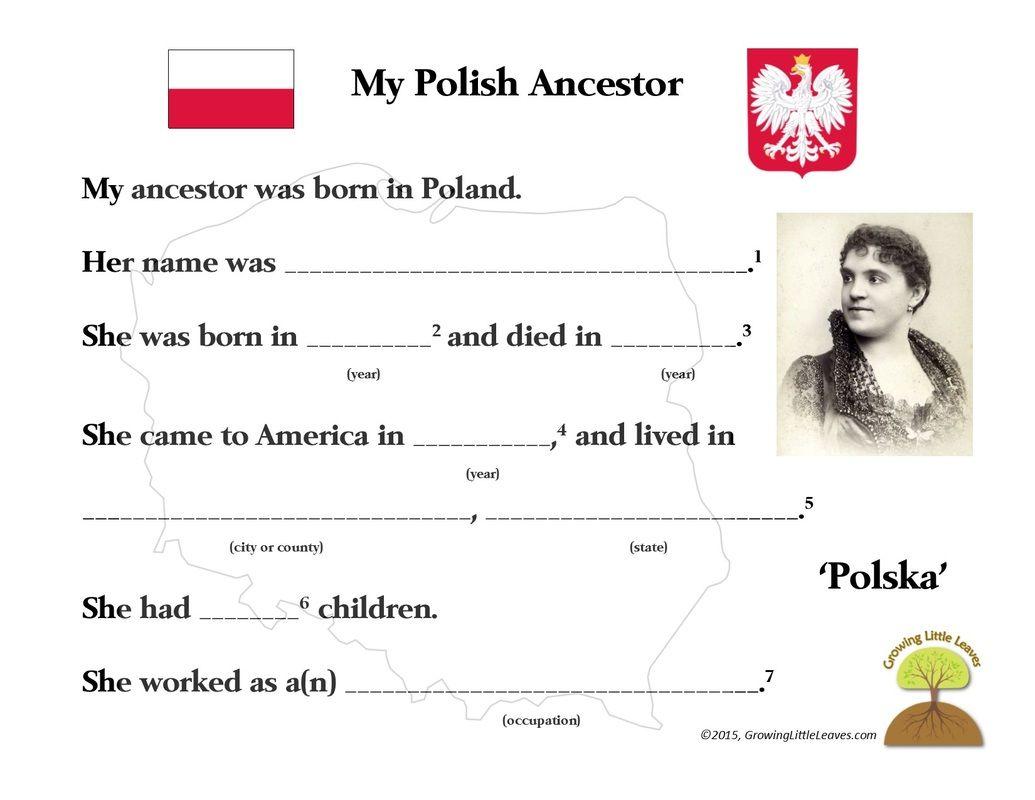 My Polish Ancestor Free Worksheet Growinglittleleaves