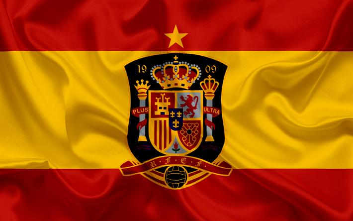 Download Wallpapers Spain National Football Team Emblem Logo Football Federation Flag Europe Flag Of Spain Football World Cup Besthqwallpapers Com Spain National Football Team National Football Teams Team Wallpaper