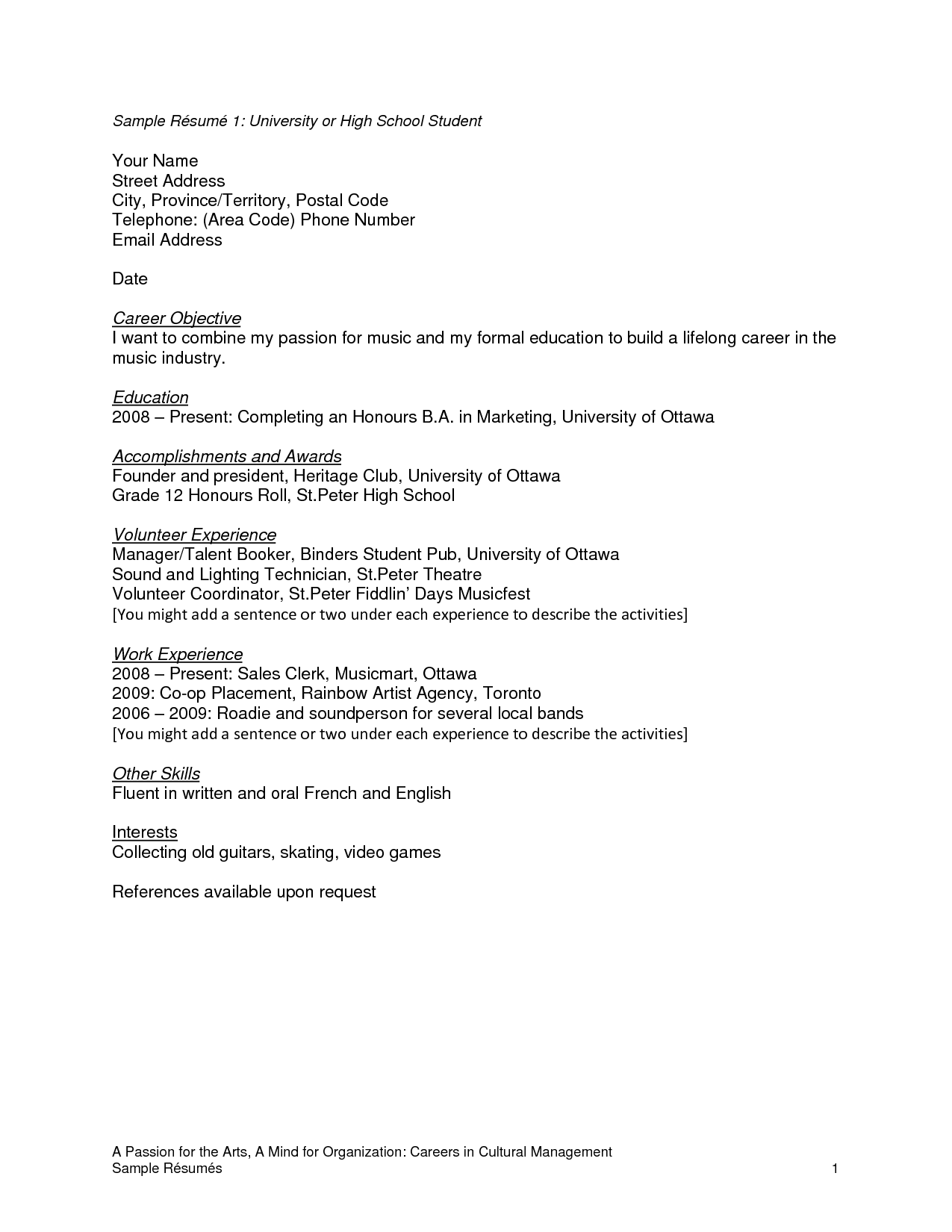 Sample Resume College Student High School Student Resume Templates  Httpwwwresumecareer