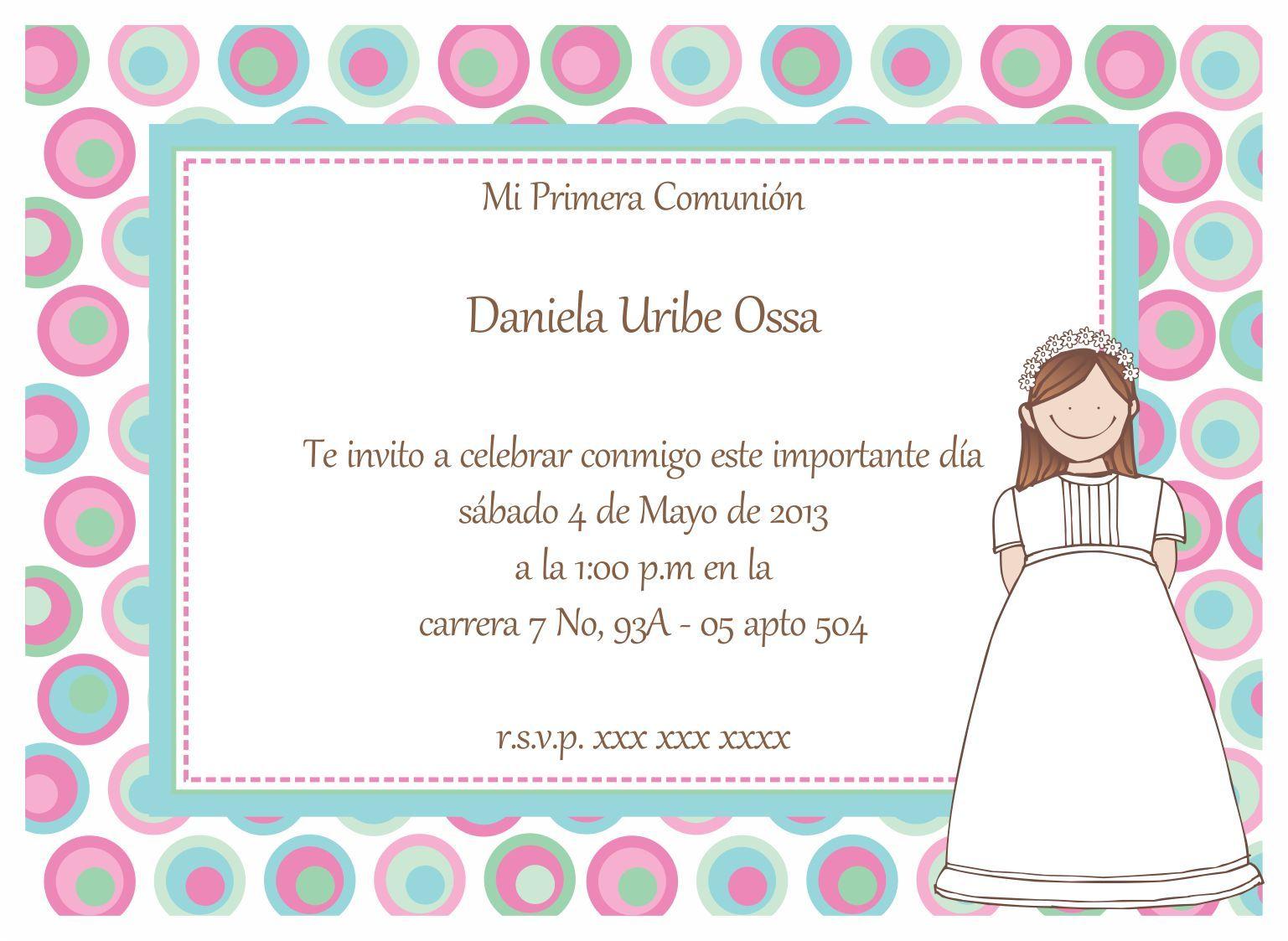 Invitaciones de comuni n ni os gratis para fondo de - Como hacer tarjetas para comunion ...