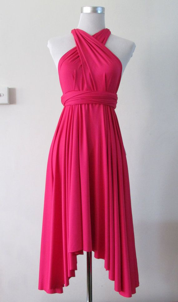 Summer day or cocktail dress Convertible Dress in Hot Pink Blush ...