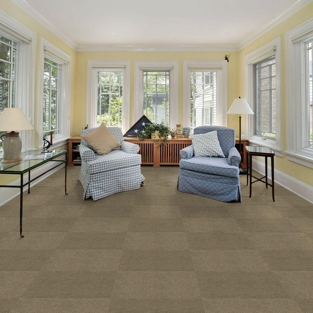 TrafficMASTER Hobnail Taupe Texture 18 In X Indoor And Outdoor Carpet Tile 16 Tiles Case