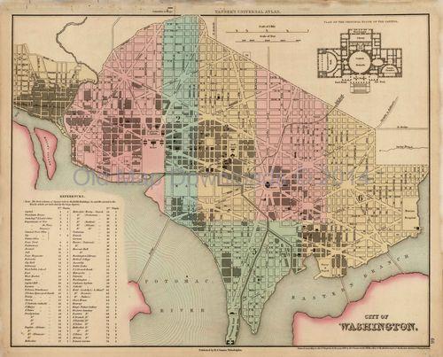 Washington Dc Map Download.Washington Dc Old Map Tanner 1836 Digital Image Scan Download Dc