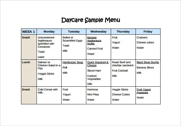 Web1.nbed.nb.ca | With This Simple Daycare Menu Template, Anyone