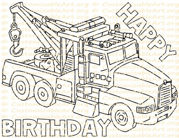 Tow Truck Party Favor Printable Truck Birthday Party Printables