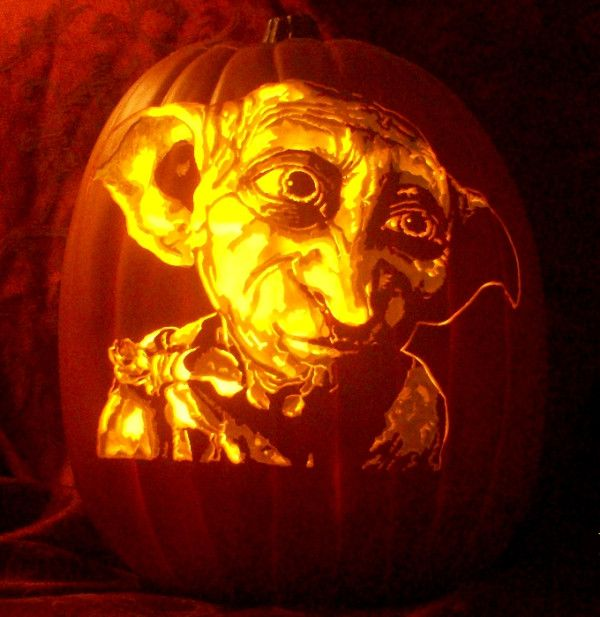 Dobby The House Elf Carve By The Pumpkin Geek For Whimsic Alley Harrypotter Pumpkin Carving Pumpkin Halloween Decorations Halloween Pumpkins Carvings