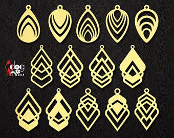 6 Leather Wood Earring Templates Vector Digital Svg Dxf