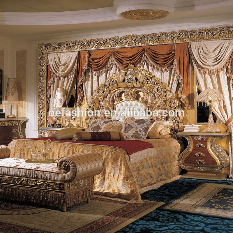 European Luxury Classic Solid Wood High Bed Luxury Villa French Court Painting High Solid Wood Bed View Carved Wood Bed Oe Fashion Product Details From Foshan Luxurious Bedrooms Italian Bedroom Furniture Furniture