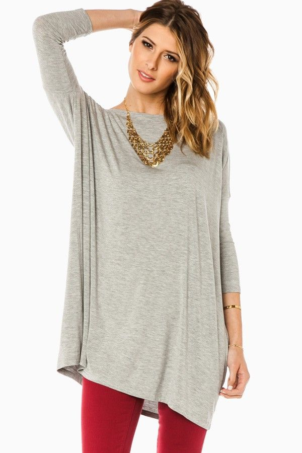 ShopSosie Style : Cozy 3/4 Sleeve Tunic in Light Grey by Piko