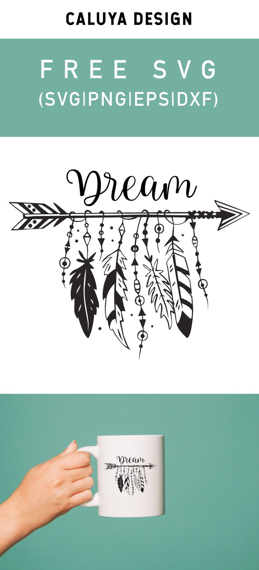 Free Boho Feather with Arrow SVG, PNG, EPS & DXF by Caluya Design