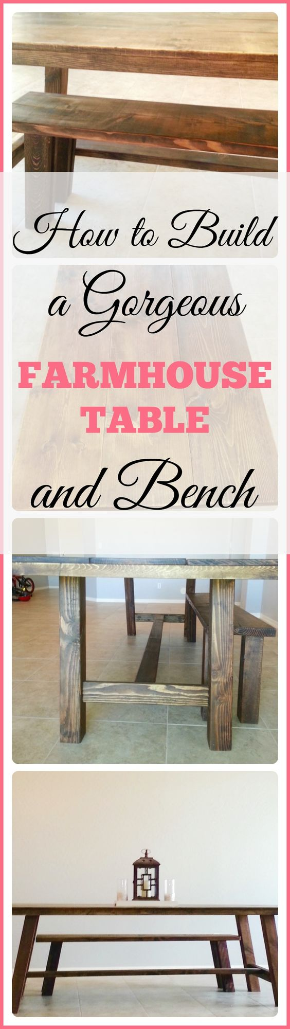 The Ultimate Pinterest Party, Week 136 How to build a farmhouse table. How to stain and protect wood. How to build a bench. DIY dining table.